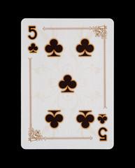 Spielkarten - Poker - Kreuz Fünf im Spiel