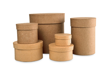 Round boxes for gifts on a white background