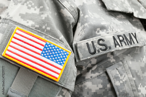 USA flag and U.S. Army patch on solder\'s uniform