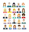 Set of people icons in flat style with faces - 78219983