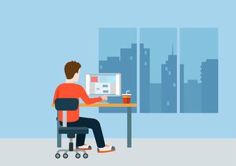 Web designer programmer coder workplace modern template mockup