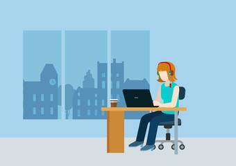 Female web designer programmer coder support call center