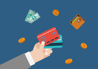 Credit card finance money flat vector web concept template