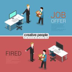 HR job offer fired dismissal flat 3d isometric modern concept