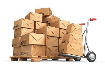 Cardboard boxes on pallet. Cargo, delivery and transportation