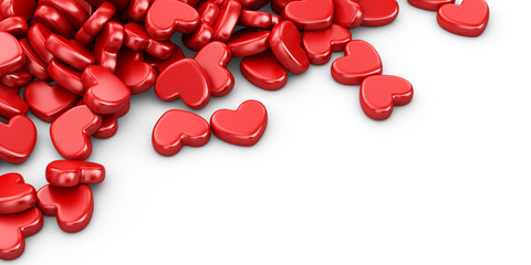 Pile of love hearts 3D. Valentine's day background, isolated