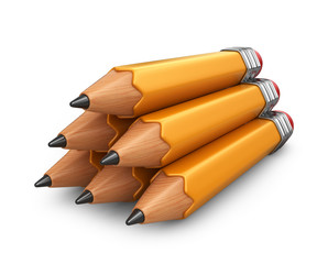 Pile of pencil. 3D icon isolated on white background