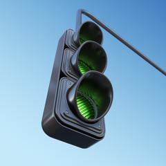 Green street traffic light on sky. 3D illustration
