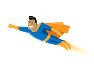 cartoon character strong hero in a suit flies