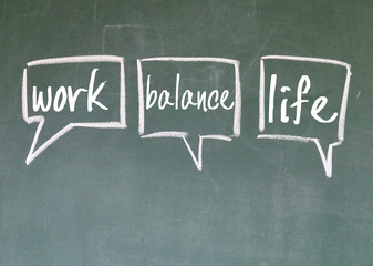 work and life choice sign on blackboard
