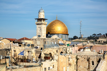 View from the old city of Jerusalem on the Dome of the Rock.