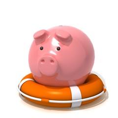 Piggy bank with Lifebuoy