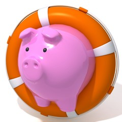 Piggy bank with Lifebuoy