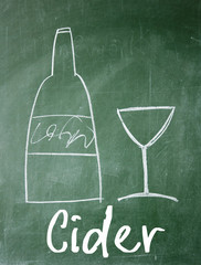 cider sign on blackboard