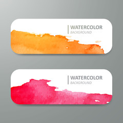 Vector Illustration of Watercolor Design Banners
