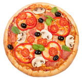 Tasty, flavorful pizza isolated on white background - 78222723