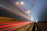 Fototapety Suspension bridge in the fog and speed lines. Bridge Swietokrzys