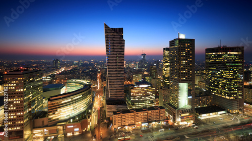 obraz lub plakat Centrum Warszawy na zachód słońca