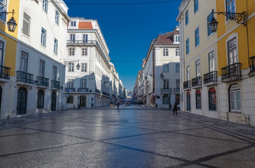Augusta street in the morning. Lisbon. Portugal