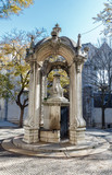 The dolphins fountain in Largo Do Carmo. Lisbon. Portugal.
