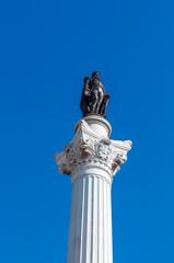 The Column of Pedro IV. Rossio Square. Lisbon. Portugal.