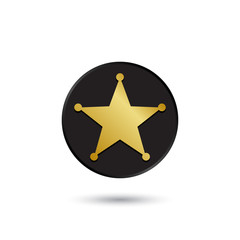 Simple gold on black sheriff star icon