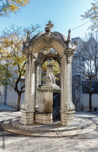 The dolphins fountain in Largo Do Carmo. Lisbon. Portugal. - 78223110