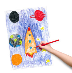 space ship. children drawing.