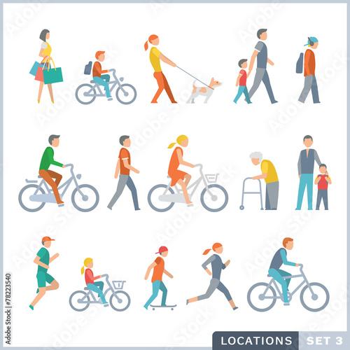 People on the street. Neighbors. Flat icons