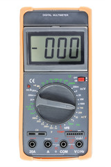 Black Digital Multimeter with orange bumper, front view