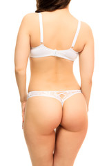 Hot woman in white underwear, white background, isolated