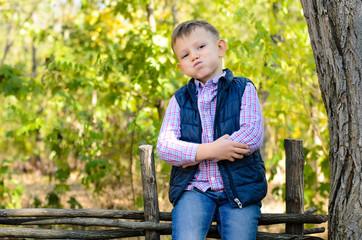 Handsome Little Boy Sitting on Wooden Fence