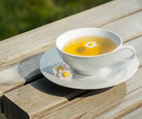 Tea camomile flower. Healthy drink
