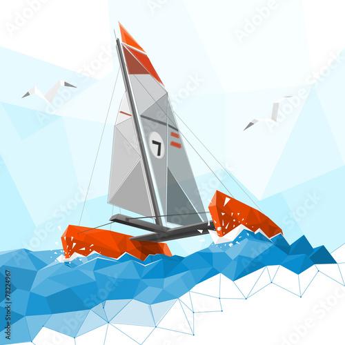 Low poly catamaran - 78224967