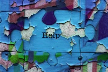 Help puzzle concept