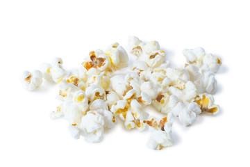 Closeup of pile of popcorns, isolated on white background