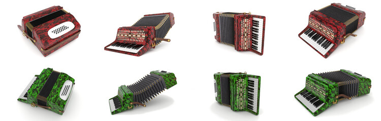 set of accordions - musical instrument