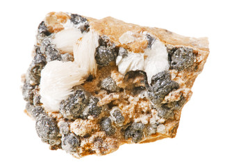 Cerussite, mineral, stone on a white background