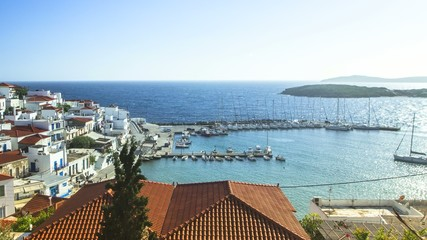 Top View of yacht Marina on Andros at Aegean Sea in Greece.