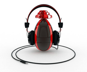Chocolate Easter Egg with Headphones on White Background