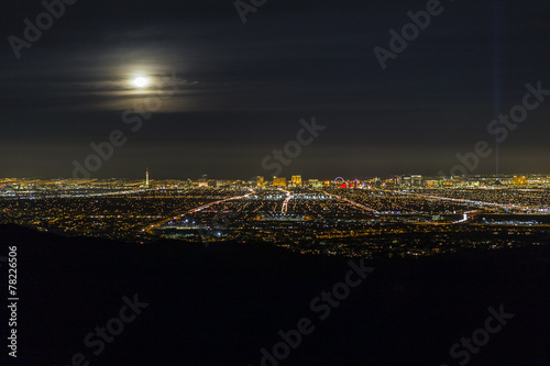 Foto op Canvas Las Vegas Las Vegas Full Moon Skyline