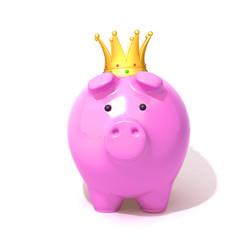 Piggy bank wearing a golden crown