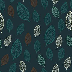 Dark stylish seamless pattern with textured leaves