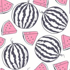 Watermelon with slice stylized seamless pattern