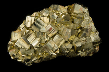 Cluster of pyrite crystals