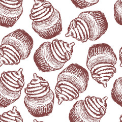 doodle coffee cupcake seamless pattern