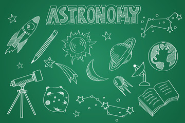 Hand drawn Astronomy set. Chalk on the blackboard