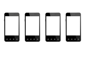 four black smart-phone isolated on the white background
