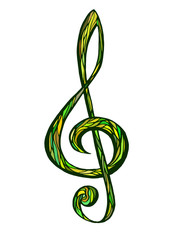 Colorful music background, treble clef