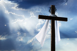 Fototapety Easter Cross with Crown of Thorns Burial Cloth and Sunbeams